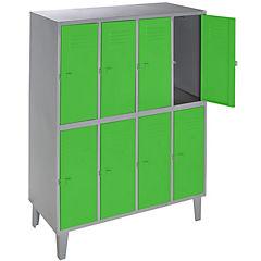 Lockers metálico 4 cuerpos 8 puertas color verde