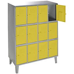 Lockers metálico 4 cuerpos 12 puertas color amarillo