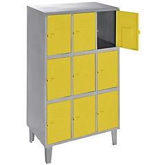 Lockers metálico 3 cuerpos 9 puertas color amarillo