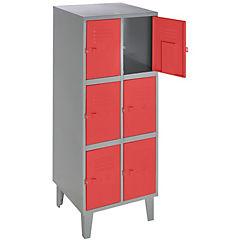 Lockers metálico 2 cuerpos 6 puertas color rojo