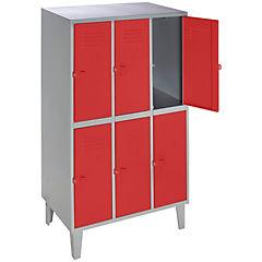 Lockers metálico 3 cuerpos 6 puertas color rojo