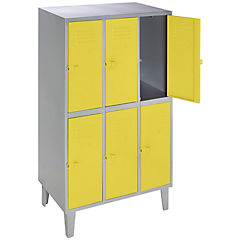 Lockers metálico 3 cuerpos 6 puertas color amarillo