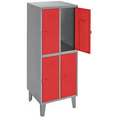 Lockers metálico 2 cuerpos 4 puertas color rojo