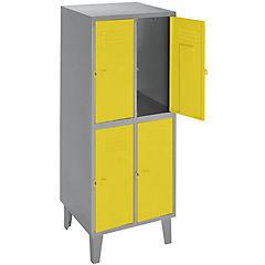 Lockers metálico 2 cuerpos 4 puertas color amarillo