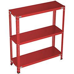 Estantería rojo 3 bandejas 90x40x100 cm