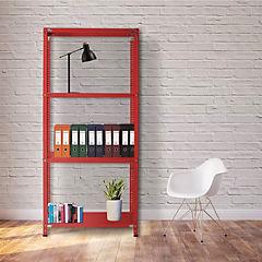 Estantería rojo 4 bandejas 90x60x200 cm