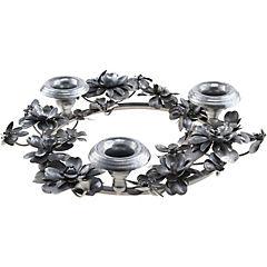 Porta vela metálico corona diamante 37 cm