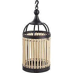 Porta vela metalico/bambu 21x50 cm