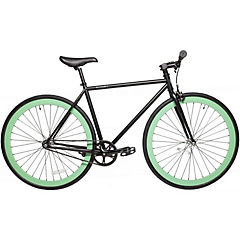Bicicleta urbana aro 28 negro matte turquesa M