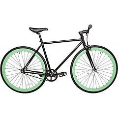 Bicicleta urbana aro 28 negro matte turquesa S