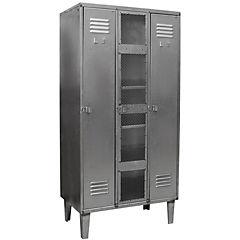 Closet lockers industrial 3 cuerpos 2 puertas con colgadores, 1 puerta malla  y 5 repisas