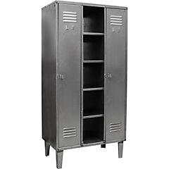 Closet lockers industrial 3 cuerpos 2 puertas con colgadores y 5 repisas
