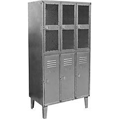 Estante lockers industrial 3 cuerpos 6 puertas malla  y acero