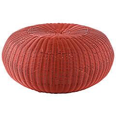 Pouf aluminio ratán 60 cm rojo