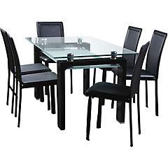 Juego de Comedor 6 sillas 150x90 negro