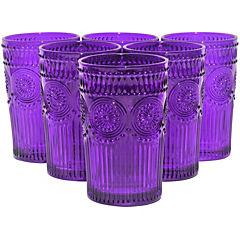 Set 6 Vasos Largo Morado Flores