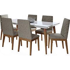 Juego de comedor 6 sillas 180x90 Blanco/Gris