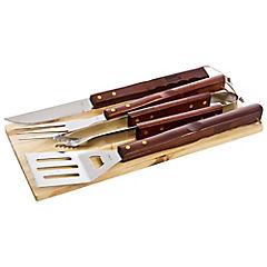 Kit de herramientas para asado 4 piezas con tabla