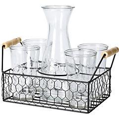 Juego 6 piezas jarro+vasos+cesta alambre