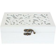Caja tallada madera 19x12 cm Blanco