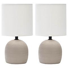 Lámpara velador pack 2 café E14 40 W
