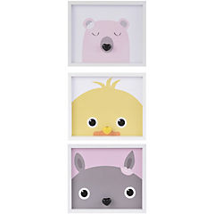 Set 3 cuadros Infantiles con gancho 33x28 cm
