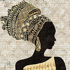 Cuadro madera Mujer Africana I 60x60cm