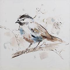 Oleo pájaro III sobre rama 30x30 cm