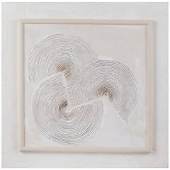 Oleo 3 conchas abstracto con marco 60x60 cm
