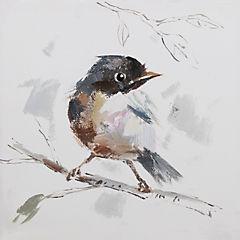 Oleo pájaro I sobre rama 30x30 cm