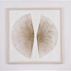 Oleo mitad concha abstracto con marco 60x60 cm