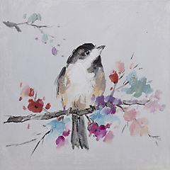 Oleo pájaro I sobre rama con flores 30x30 cm