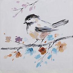 Oleo pájaro II sobre rama con flores 30x30 cm