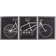 Cuadro tríptico bicicleta 90x40 cm