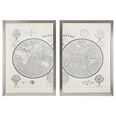 Cuadro 76x53 cm mapamundi doble