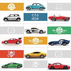Sticker autoadhesivo Cars 9 unidades 15x15 cm