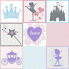 Sticker autoadhesivo Princess 9 unidades 15x15 cm