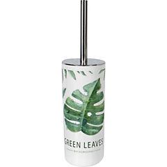 Cepillo WC con base diseño hojas verdes