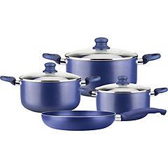 Batería cocina antiadherente 7 piezas azul