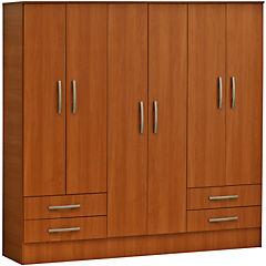 Closet 182,1 X 48,5 X 182,5 + 4 + 6 puertas + 4 cajones melamina peral