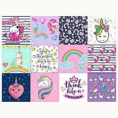 Set 12 vinilos adhesivos 15x15 cm unicornios