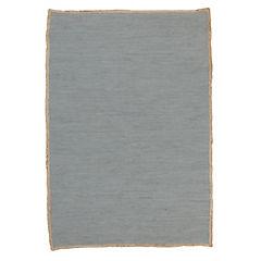 Alfombra algodón y yute gris 220x150 cm