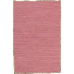 Alfombra algodón y yute rosa 220x150 cm
