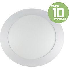 Pack 10 panel led embutido 12W redondo luz fria
