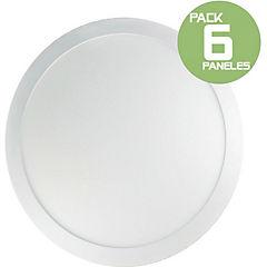 Pack 6 panel led sobrepuesto 18W redondo luz fria