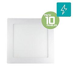 Pack 10 panel led sobrepuesto 12W cuadrado luz fria