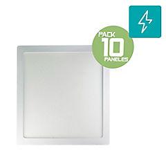 Pack 10 panel led sobrepuesto 18W cuadrado luz fria
