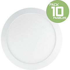 Pack 10 panel led sobrepuesto 18W redondo luz fria