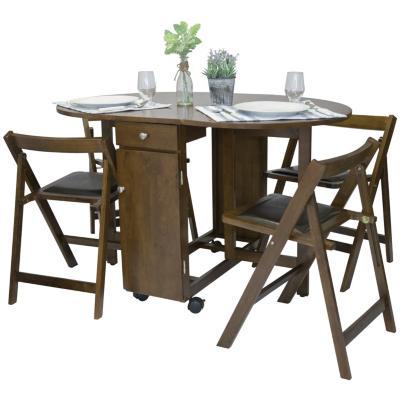 Mesa arrimo plegable con cuatro sillas for Sillas ergonomicas sodimac
