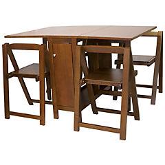 Mesa arrimo plegable rectangular con cuatro sillas